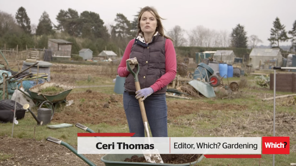 A woman on an allotment screen shot of a video about what veg to grow in march